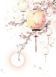 art - Antique Lanterns Painted Peach, Peach Clipart, Pink Peach, Peach PNG Transparent Image a Japon Illustration, Botanical Illustration, Antique Lanterns, Art Asiatique, Art Japonais, Decoupage Vintage, China Art, China China, Decorating With Pictures