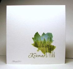 Although there is no tutorial, based on others I can do this using a leaf mask, create a beautiful background, then stamp it with the mask on. Then my sentiment and any free-hand embellishments.... I love the simplicity of this card!!!!