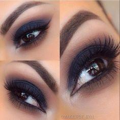 Smokey Eye Makeup Tips In Hindi Smokey Eyeliner Eye Makeup Tips, Smokey Eye Makeup, Makeup Goals, Love Makeup, Skin Makeup, Makeup Inspo, Makeup Inspiration, Makeup Kit, Navy Eye Makeup