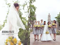 Indiana University Wedding Photos, grey and yellow wedding, grey bridesmaids dresses, yellow bouquets