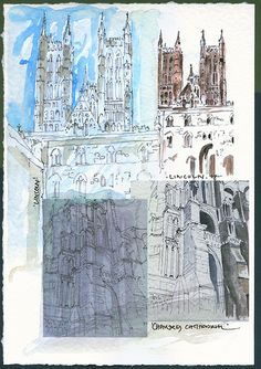 LINCOLN & CHARTRES CATHEDRALS - | by PARK@ARTWORKS Building Illustration, Cathedrals, Watercolor Print, Lincoln, Artworks, Ink, Drawings, Prints, Painting