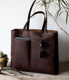 5c4d43a6ab31 Large Dark Brown Leather Tote Genuine Leather Bag Black