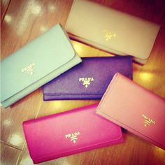 Prada clutches in lovely colours!
