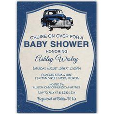 Vintage Car Baby Shower Invitation
