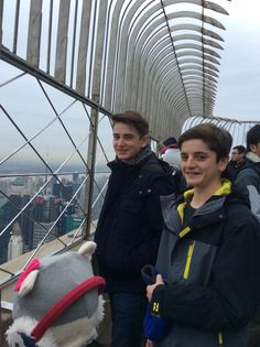 Ben and his friend are looking at New York while my earmuffs are falling down