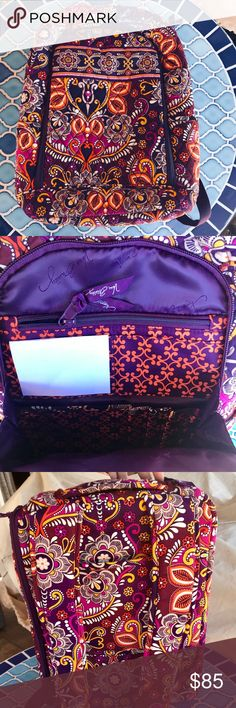 "Vera Bradley Laptop Backpack Brand new laptop backpack.  Color is the beautiful safari sunset Dimensions according to their website are: 11½"" x 15¾"" x 7"" with 28½"" adjustable straps.  The Large Backpack is a travel-friendly bag, capable of housing binders, folders and a 15"" laptop. Slots, slip pockets and pen holders keep odds and ends in place in this essential for today's student or professional.  Does not come with tags but it's brand new. No wear! Vera Bradley Bags Backpacks"