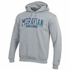 Comfy, warm... a classic looking collegiate hoodie from Champion.  Available at the Moravian College Bookstore