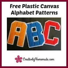 Free Plastic Canvas Alphabet Patterns. Each letter is 4 inches tall - just…