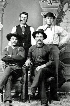 "The Dartt brothers, natives of Nova Scotia, Canada, migrated to Mendocino County, California, to work in the logging industry as timber cutters. After the area was ""logged out"" the brothers remained in California. Joseph Howe Dartt (b. 1862) [smoking cigar], Frederick Dartt (b. 1857), Robert Dart (b. 1853) and Samuel Kent Dartt (b. 1852). Photo courtesy of member Nyla Urch-Dartt."