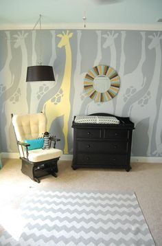 Modern Safari Nursery with Giraffe Mural - Project Nursery