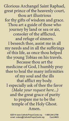 St. Raphael the Archangel prayer card