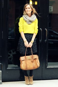 I can recreate this look with items in my closet! [yellow, pleated polka dots, gray]