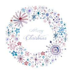 Christmas card snowflake wreath