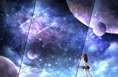 Blue Anime, Cute Drawings, Backgrounds, Illustrations, Landscape, Stars, Wallpaper, Pictures, Painting