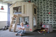 Upgrade a simple cabin bed Kids Bedroom, Kids Rooms, Kids Room Design, Play Houses, Bunk Beds, Little Boys, Baby Kids, Toddler Bed, Bedrooms
