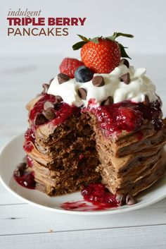 Indulgent Triple Berry Chocolate Pancake recipe — Dessert for breakfast? Yes, p… Indulgent Triple Berry Chocolate Pancake recipe — Dessert for breakfast? Yes, please! Surprise someone with this crazy delicious pancake recipe! Sweet Potato Pancakes, Tasty Pancakes, Homemade Pancakes, Best Dessert Recipes, Fun Desserts, Sweet Recipes, Easy Recipes, Instant Recipes, Korean Recipes