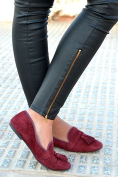 coated denim, burgundy suede loafers