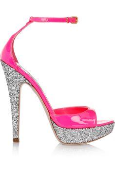Miu Miu Glitterfinished Patentleather Sandals in Silver (fuchsia) | Lyst
