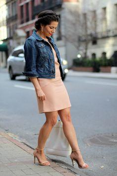 Sunday Brunch | Blush Dress + Denim Jacket |Corporate Catwalk by Olivia | Fashion Blogger in the Corporate World