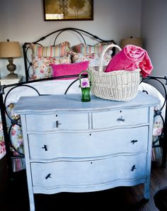 I own this same dresser and have wondered how it would look painted. So tempting! Home Decor Bedroom, Bedroom Bed, Cedar Hill Farmhouse, Blue Dresser, Pretty Bedroom, Foot Of Bed, Guest Bedrooms, Guest Room, Cottage Homes
