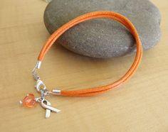 Orange Cotton Awareness Bracelet / Anklet-  DVT, Kidney cancer, Leukemia, Multiple Sclerosis, RSD, Skin Cancer and others on Etsy, $6.00