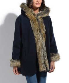 Look what I found on #zulily! Navy Faux Fur-Trim Hooded Pea Coat #zulilyfinds