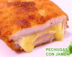 Pechugas rellenas de jamon y queso