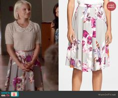 Quinn's grey floral skirt on Glee.  Outfit Details: http://wornontv.net/43479/ #Glee