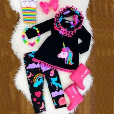 f309dbcda63ed Details about Unicorn Kids Baby Girls Outfits Clothes T-shirt Tops Dress +Long  Pants 2PCS Set