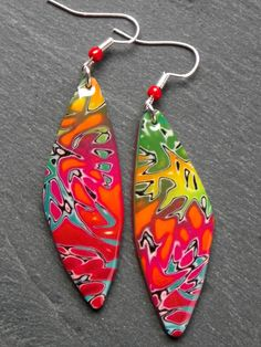 www.cewax.ft aime Mokume gane earrings by Création de Vert Cerise, polymer clay.