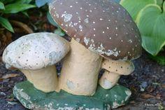 Vintage Large Cement Mushroom Garden Statue