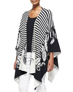 Draped Striped/Paisley-Print Cardigan & Sleeveless Scoop-Neck Shell by Escada at Neiman Marcus.