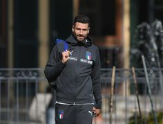 Antonio Candreva of Italy looks on during a training session at Italy club's training ground at Coverciano on October 2, 2017 in Florence, Italy.