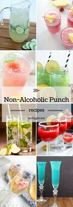 Party punches are delicious, refreshing and often times full of fruit. Here are non-alcoholic punch recipes so everyone at your shindig can enjoy it. Alcoholic Punch Recipes, Party Punch Recipes, Non Alcoholic Cocktails, Party Drinks Alcohol, Fruit Drinks, Alcohol Punch, Wedding Punch Recipes, Summer Punch Recipes, Non Alcoholic Christmas Drinks
