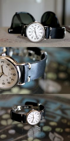 Ultra affordable Timex ($25 on sale) on a hand-made leather strap.