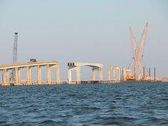 Deconstruction of the old bridge to St. George Island, Florida Pandhandle. March 2004 Photo Credit: Deborah Baker