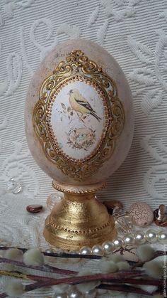 Купить ЗОЛОТОЕ (не простое) яйцо интерьерное - золотой, яйца, яйцо декупаж, яйцо пасхальное