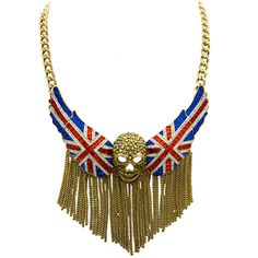 Crystal Skull with Union Jack Wings and Tassel Chain Necklace