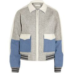 Jonathan Simkhai Tran bouclé-tweed, denim and leather jacket