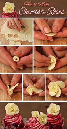 Cupcakes How to make Chocolate Roses. This would be perfect for almost any special occasion.How to make Chocolate Roses. This would be perfect for almost any special occasion. Cake Roses, Fondant Flowers, Rose Cake, Sugar Flowers, Diy Flowers, Cupcake Rose, Cupcake Cakes, Fondant Cakes, 3d Cakes