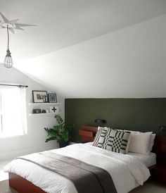awesome awesome Army green paint color adds a touch of spunk to this room, I lov. - Home Decor Army Bedroom, Bedroom Green, Master Bedroom, Slanted Ceiling Bedroom, Slanted Walls, Rooms With Slanted Ceilings, Decor Room, Bedroom Decor, Home Decor