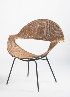 Frank Watkins Attributed; Enameled Metal and Wicker Armchair, 1956.