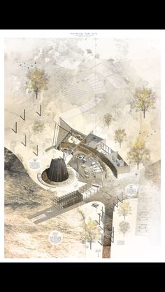 Axo exploded architecture drawing rendered texture axonometric drawing