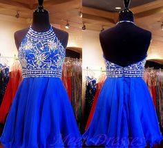 Sparkly Homecoming Dresses Royal Blue Beaded New Short Prom Dress Evening Gowns For Teens
