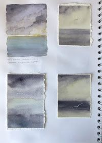 Lisa Le Quelenec Seaside studios paintings, prints and mixed media: Watercolour storms in my sketchbook A Level Art Sketchbook, Sketchbook Layout, Artist Sketchbook, Sketchbook Inspiration, Sketchbook Ideas, Layout Inspiration, Watercolor Sketchbook, Watercolor Bird, Mixed Media Photography