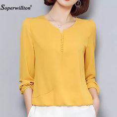 b2964f4e5b Novo 2018 Blusa Chiffon Camisa Mulheres Outono Sólida Tops Mais tamanho 4XL  de Manga Longa Moda