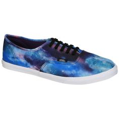 Vans Authentic Lo Pro Cosmic Galaxy Trainers - Black/True White (90 AUD) ❤ liked on Polyvore featuring shoes, sneakers, vans, sapatos, skate shoes, grip trainer, black sneakers, canvas sneakers and vans shoes