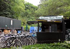 Bicycles for riding in Central Park are available for rent at the Loeb Boathouse daily, April through November
