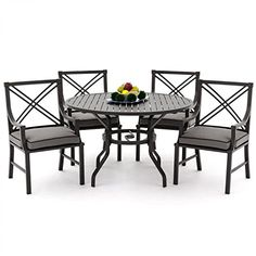 Lakeview Outdoor Designs Audubon 4 Person Aluminum Patio Dining Set with Round Table Gray ** Detailed information can be found by clicking on the VISIT button