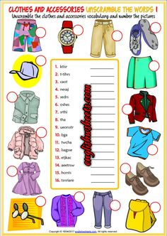 Clothes and Accessories Esl Printable Unscramble the Words Worksheets For Kids